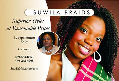SUWILA BRAIDS flyer front