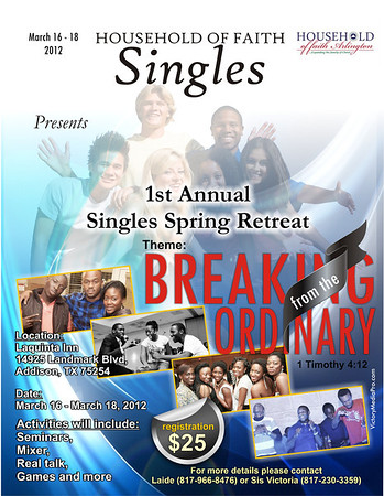 RCCG FAITH  Singles flyer
