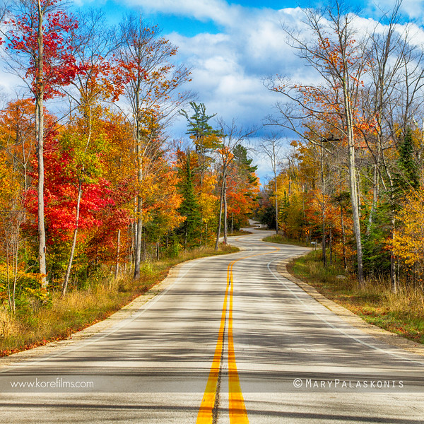 Famous winding road in Door County, Wisconsin