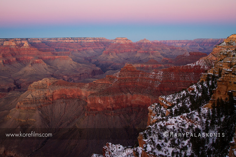 Finding solitude above the south rim in winter. Grand Canyon National Park, Arizona.<br /> <br /> Photograph by Mary Palaskonis<br /> <br /> #grandcanyon, #sunset