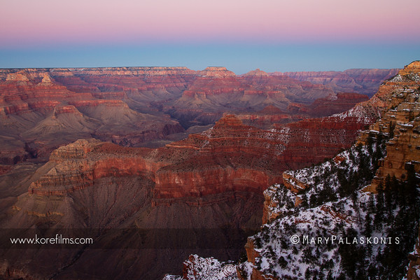 Finding solitude above the south rim in winter. Grand Canyon National Park, Arizona.  Photograph by Mary Palaskonis  #grandcanyon, #sunset
