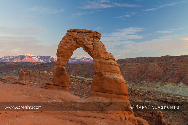 Delicate Arch sunset. Arches National Park, Utah.  Photograph by Mary Palaskkonis