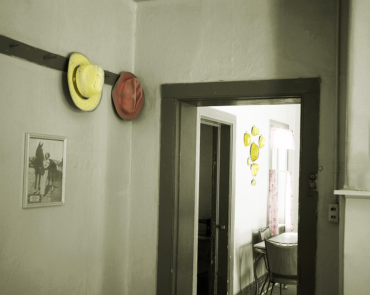 Hats hung by the door, Fielding Garr Ranch, Utah