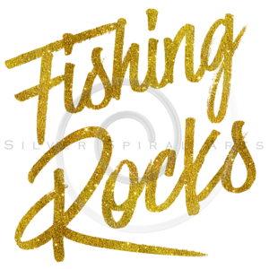 Fishing Rocks Gold Faux Foil Metallic Glitter Quote