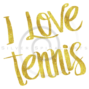 I Love Tennis Gold Faux Foil Metallic Motivational Quote