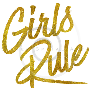 Girls Rule Gold Faux Foil Metallic Glitter Quote