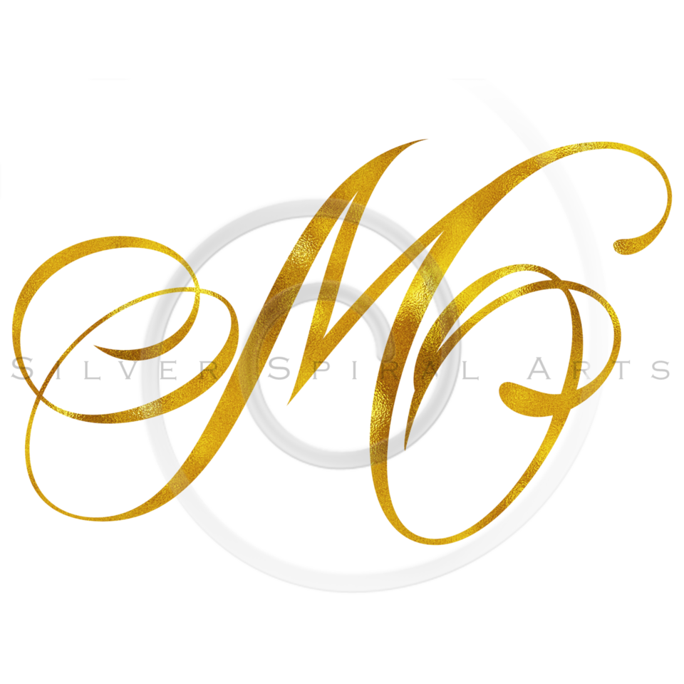 Monogram M Gold Faux Foil Monograms Metallic Initials