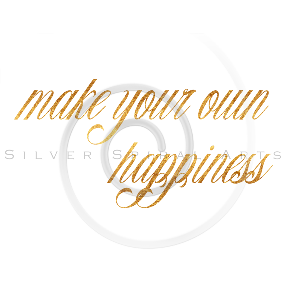 Happiness Quote Gold Faux Foil Metallic Quotes