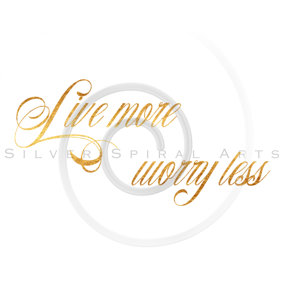 Live More Worry Less Quote Gold Faux Foil Metallic Quotes