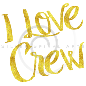I Love Crew Gold Faux Foil Metallic Motivational Quote