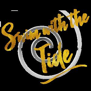 Swim With The Tide Gold Faux Foil Metallic Glitter Quote