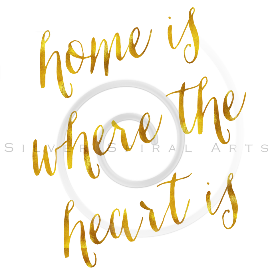 Home Is Where The Heart Is Gold Faux Foil Metallic Glitter Quote on White Background