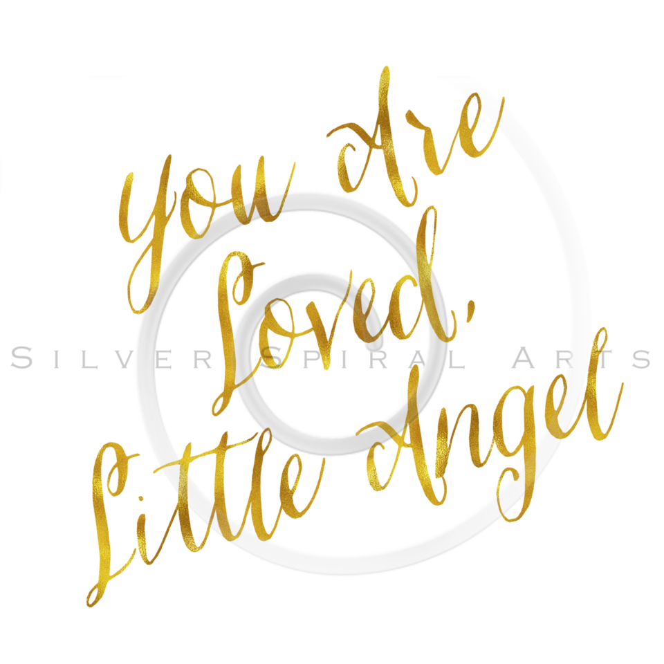 You Are Loved Little Angel Gold Faux Foil Metallic Glitter Quote on White Background
