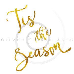 Tis The Season Gold Faux Foil Metallic Motivational Quote