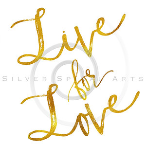 Live For Love Gold Faux Foil Metallic Motivational Quote