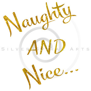 Naughty and Nice Gold Faux Foil Metallic Motivational Quote