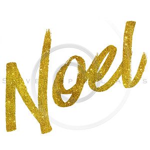 Noel Gold Faux Foil Metallic Glitter Quote