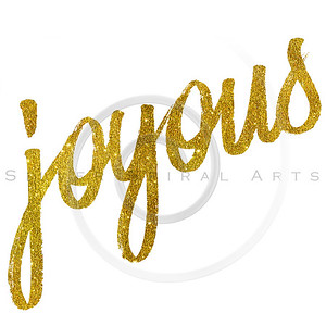 Joyous Gold Faux Foil Metallic Glitter Quote