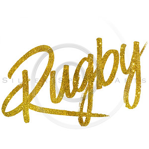 Rugby Gold Faux Foil Metallic Glitter Quote