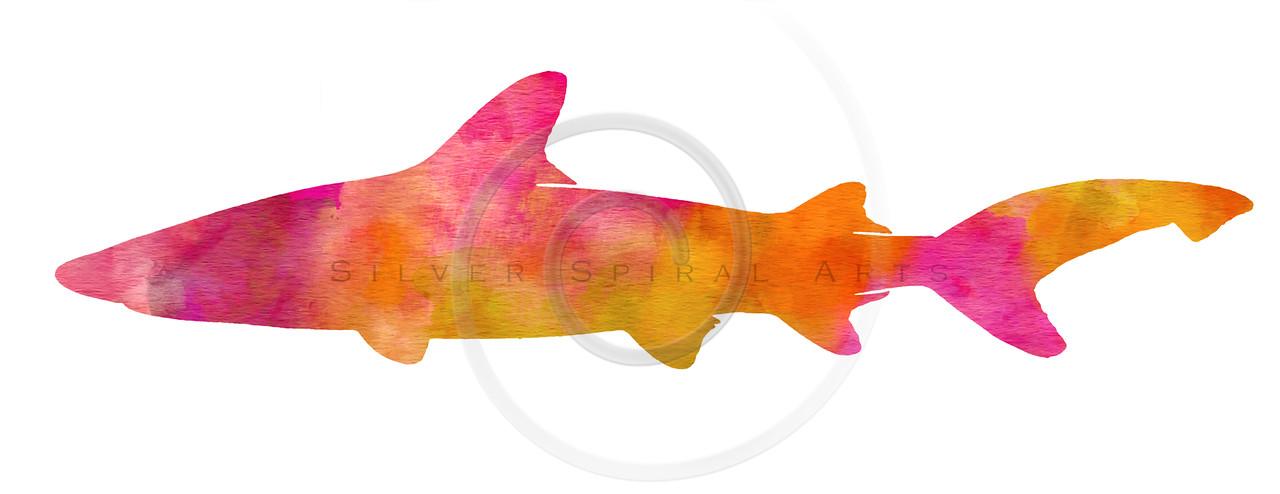 Vintage Shark Silhouette Pink Orange Yellow Watercolor