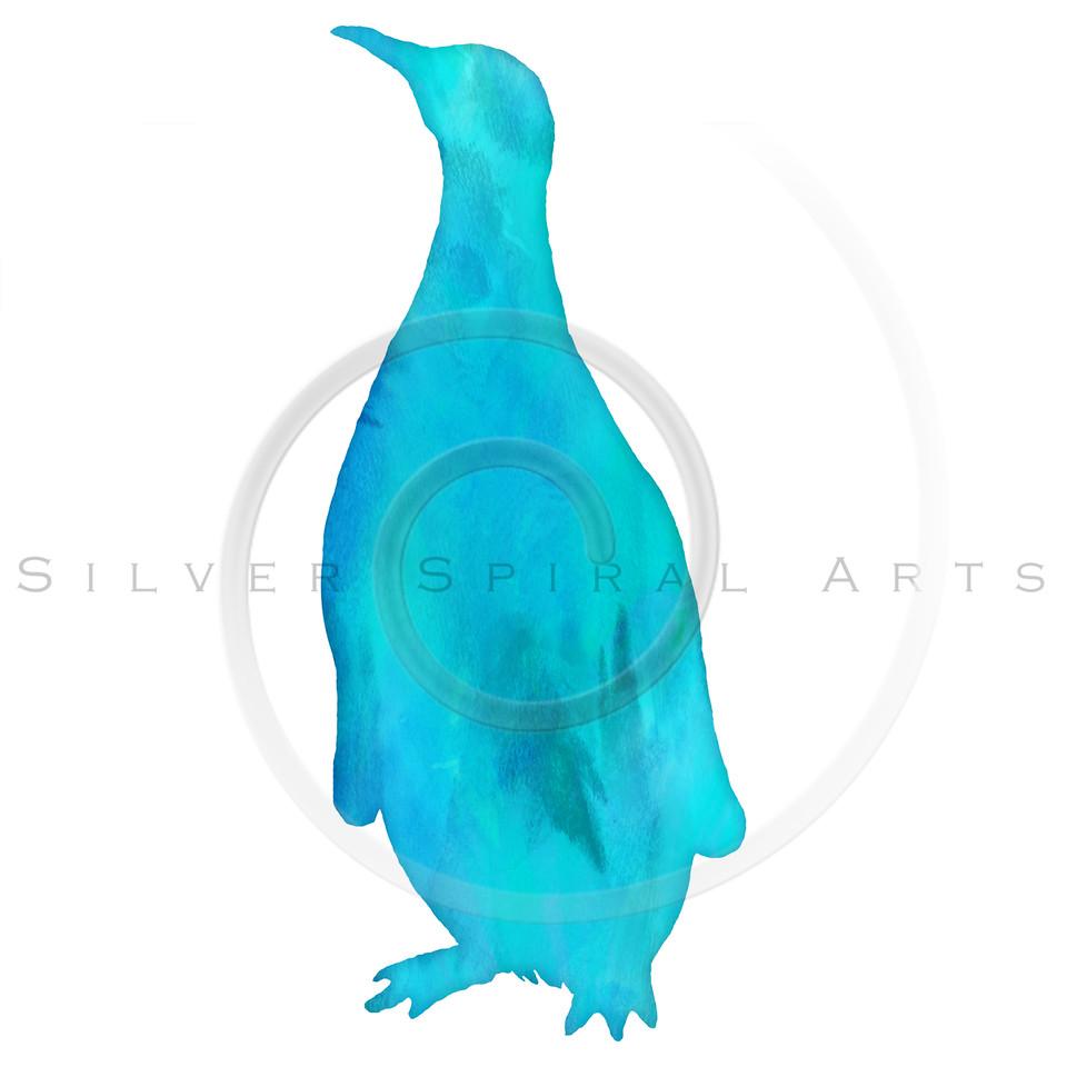 Vintage Penguin Aqua Teal Blue Green Watercolor Silhouette