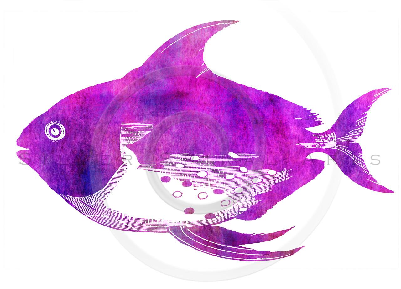 Opah Tropical Hawaiian Fish Silhouette Watercolor