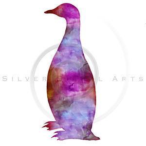Vintage Penguin Watercolor Silhouette