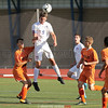 Austin Blumbergs jumps for a header during the game last week. Penn Yan tied Waterloo 0-0.