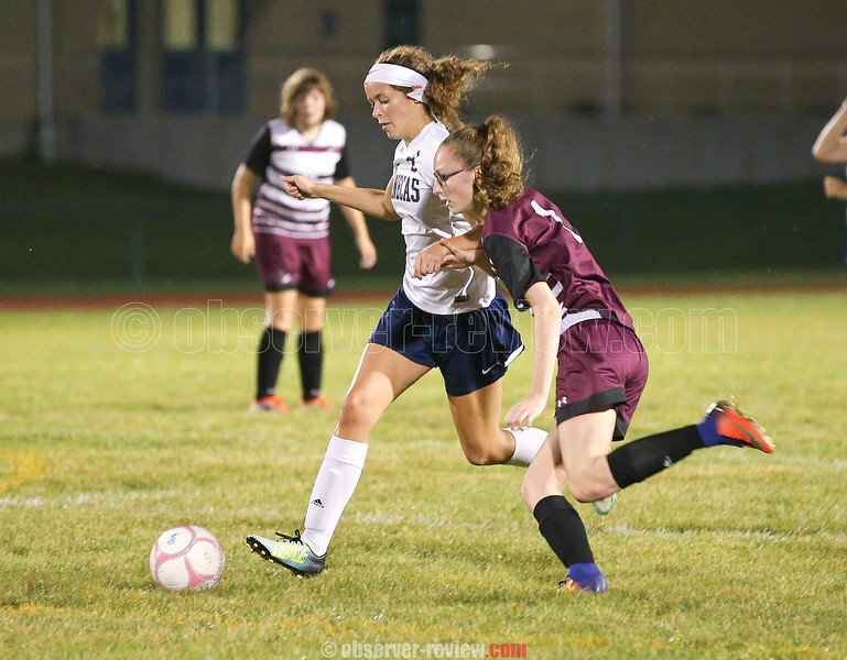 Watkins Glen's Ryanna LaMoreaux goes against Odessa's Alexis Saunders for the ball in the game last week.