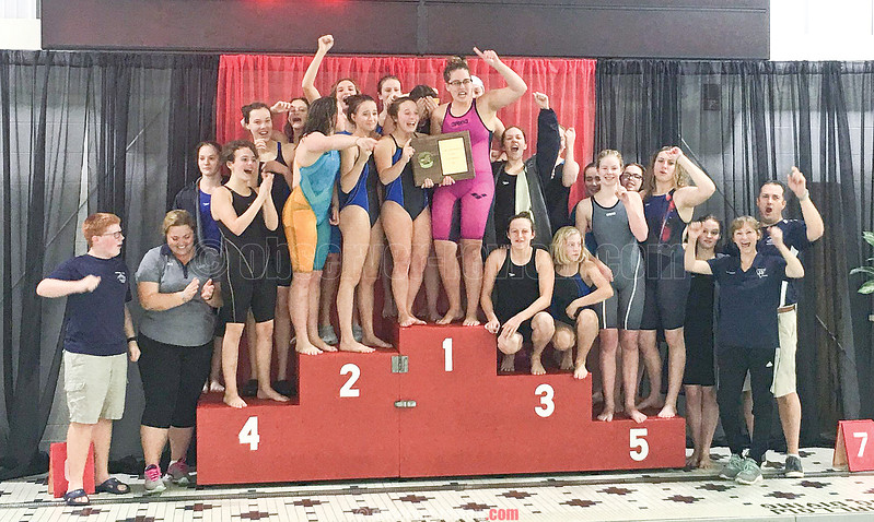 The Watkins Glen girls varsity swim team celebrates their Section IV Class C win Saturday, Nov. 4. PHOTO PROVIDED