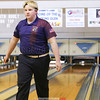 Wrett Brower bowls a spare during the match with Union Springs, Friday, Jan. 27.