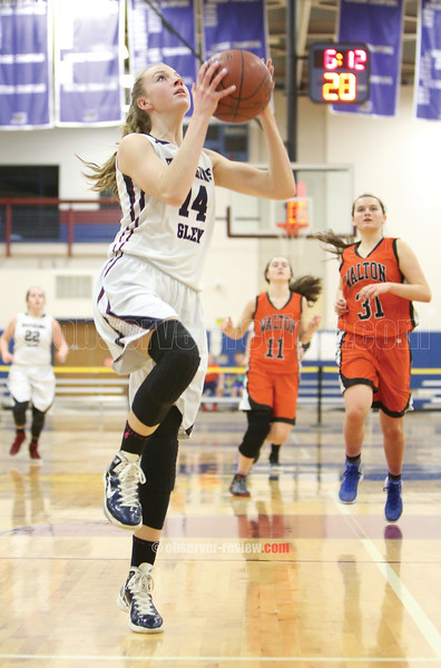 Amanda Pike scores on a fast break Friday night.