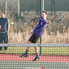 Peter Sandritter volleys in the match against Newark Valley last week.