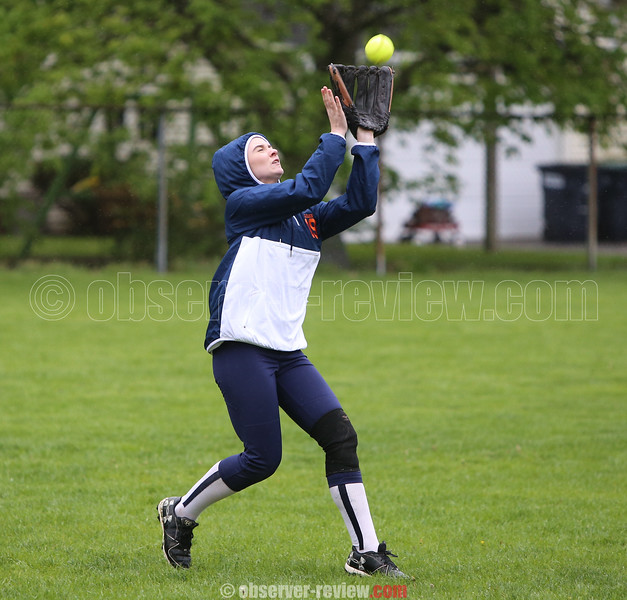 Melanie Gleason makes a catch for Penn Yan early in the Thursday game.