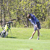 Sam Hanley follows through on a swing in the match against Notre Dame.