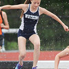 Julya Slater jumps during the steeplechase event at Trumansburg. She finished in second place. Pamela Rutledge photo