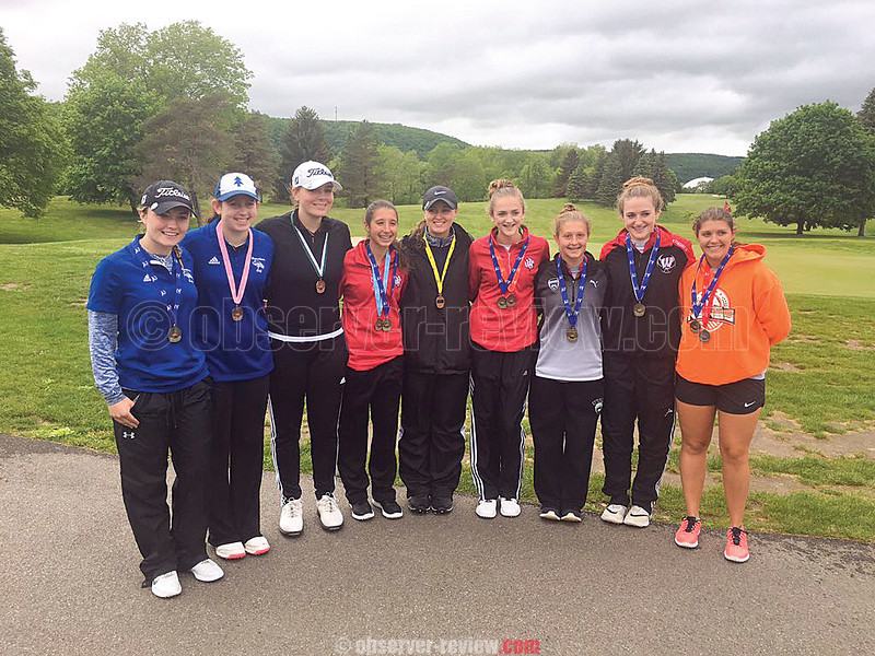 The Watkins Glen girls varsity golf team took third in the Section IV tournament, Thursday, May 25. Hanley Elliott (center above) led with a 93, finishing in sixth overall and advancing to the state tournament. <br /> The Indians' girls varsity golf team took fourth in the Section IV tournament. Gillian Clark (third from left) recorded a 96 for ninth place, advancing. Photo provided