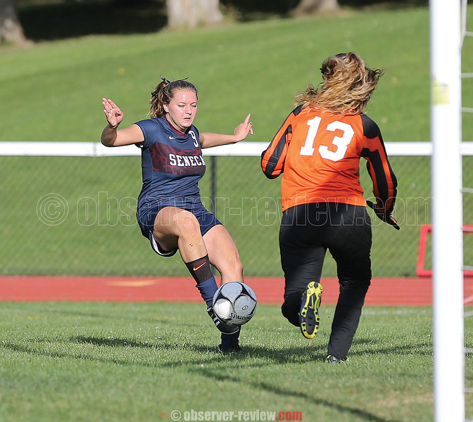 Isobel Scheffey shoots on goal against Dundee during the Friday game.