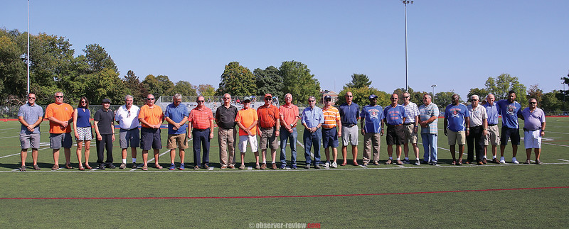 The Penn Yan Athletic Hall of Fame inductees were introduced at halftime. Paul Chapman, Michael Manley (not pictured), Butch Mashewske, Jennifer Miles and the 1967 football team were recognized.