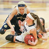 Danielle Leszyk dives for a loose ball in the game against Notre Dame, Friday, Jan. 19.