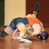 Nate Elliott secures a pin for Penn Yan against Dundee's Phoenix Ault last week.