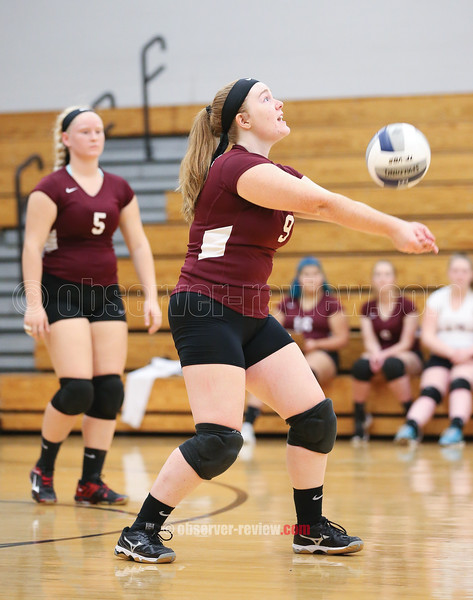Megan Sutherland bumps the ball during the game against Honeoye, Thursday, Oct. 11.