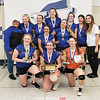 Penn Yan's volleyball team celebrates with their sectional trophy, Saturday, Nov. 3 at Bloomfield.