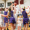 Hammondsport's Amanda O'Donnell, Ana Salom and Maddie Sprague defend as Dundee's Makenzie Cratsley goes for the basket, Tuesday, Nov. 27.