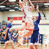Brennan Prather soars to the basket Thursday, Nov. 29 against Haverling.