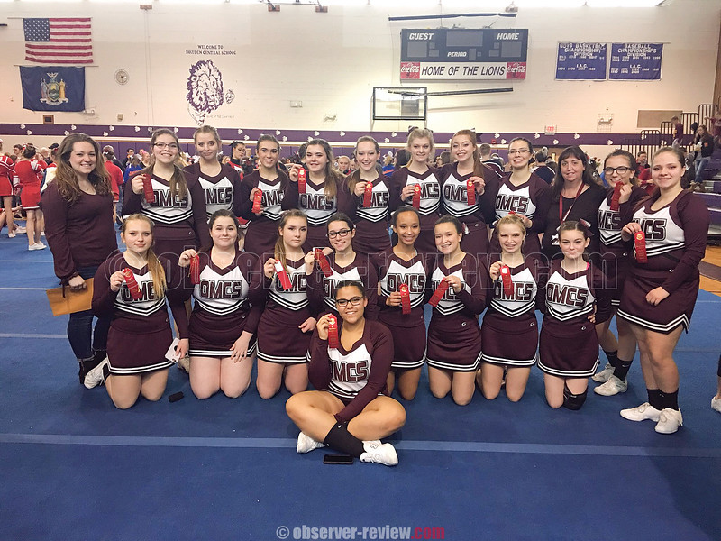 The Odessa-Montour girls took second place in the large squad division at the IAC championship. Photo Provided