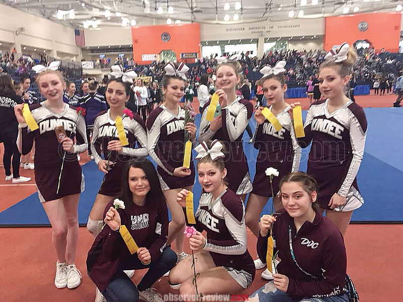 The Dundee varsity cheerleading team took third place in the Section V competition at the Rochester Institute of Technology last weekend. PHOTO PROVIDED