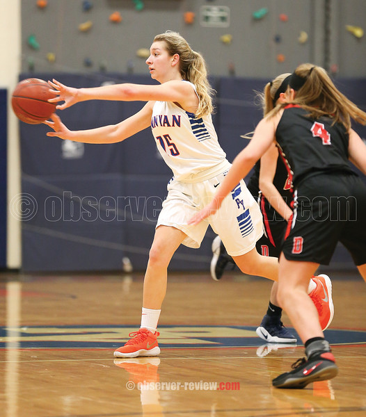 Jenna Curbeau moves the ball for Penn Yan in their sectional game Tuesday, Feb. 20.