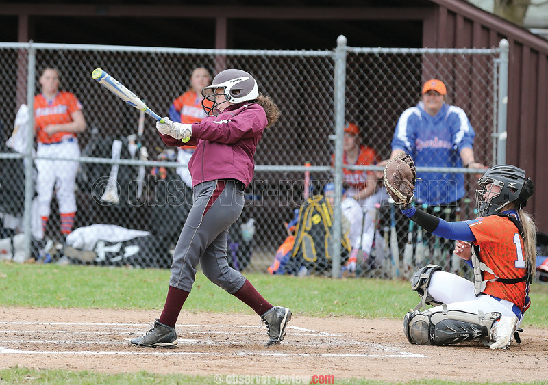 Isabel Foote led off batting for Odessa in the game last week.