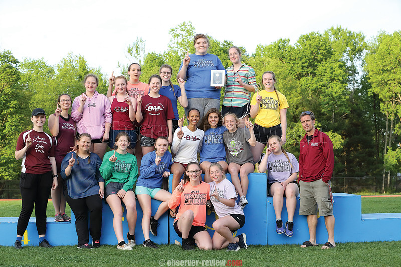 The Odessa-Montour girls varsity track and field team poses after winning the Interscholastic Athletic Conference (IAC) title. Photo by: Doug Yeater